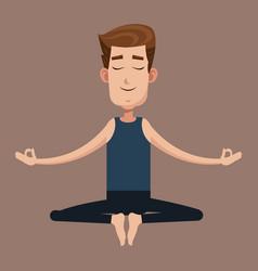 man posing yoga health vector image