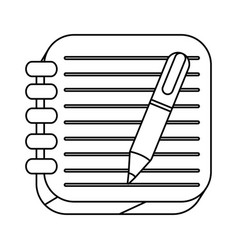 silhouette spiral notebook with pen icon vector image