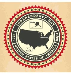 Vintage label with independence day of usa vector