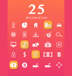25 bitcoin icons for currency exchange online vector