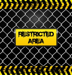 Restricted area sign - wire fence and yellow tapes vector