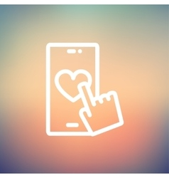 Cellphone with heart thin line icon vector