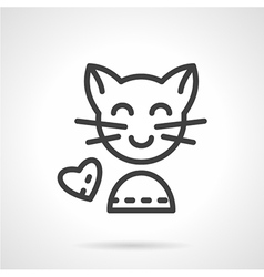 Cute cat simple line icon vector