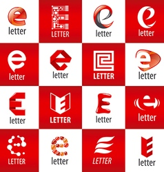 Large set of logos letter e vector