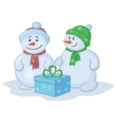 Snowmens with gift box vector