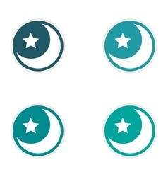 Assembly sticker logo moon and star on a white vector