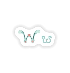Stiker abstract letter w logo icon in blue vector