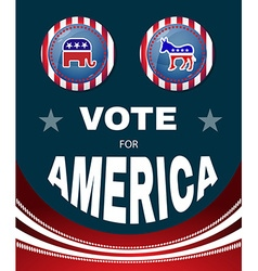 Vote for america elephant versus donkey banner vector