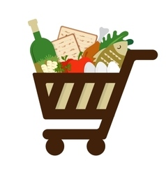 Shopping cart filled in with traditional food for vector