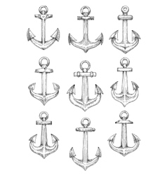 Nautical heraldic sketch symbols of retro anchors vector