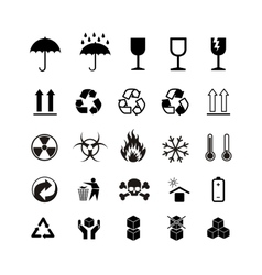 Set of different black cargo symbols on white vector