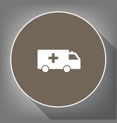 ambulance sign white icon on vector image