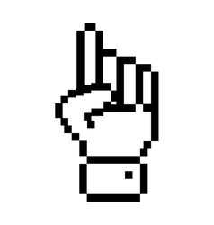 Black outline pixelated hand pointing up vector