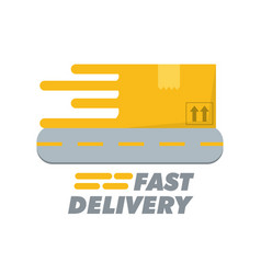 Box with road to fast delivery design vector