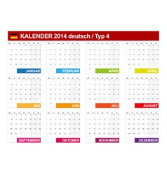 Calendar 2014 german type 4 vector