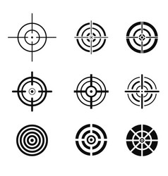 Collection of black target icons aim signs set vector