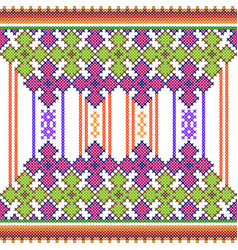 cross stitch embroidery floral design for seamless vector image