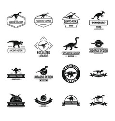dinosaur logo icons set simple style vector image