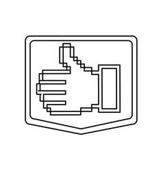Emblem contour of pixel hand showing symbol like vector