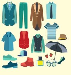 Fashion collection of man wardrobe vector image