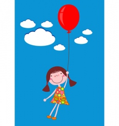 girl with balloon vector image vector image