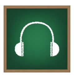 Headphones sign white chalk effect vector