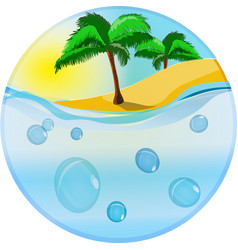 island in the ocean emblem vector image vector image