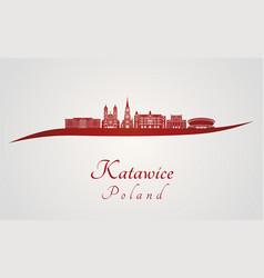 Katowice skyline in red vector