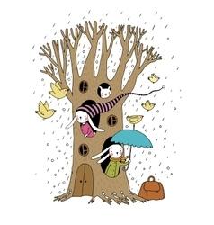 Magic Tree rabbits and birds vector image