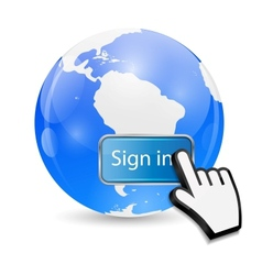Mouse Hand Cursor on Sign In Button and Globe vector image vector image