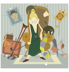 Old woman plays golf vector