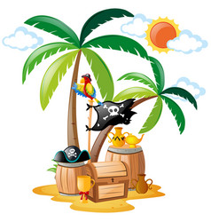 parrot standing on pirate bird vector image