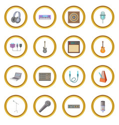 Recording studio icons circle vector