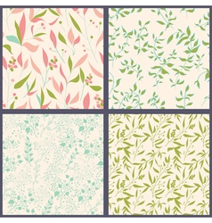 Set of floral seamles patterns vector
