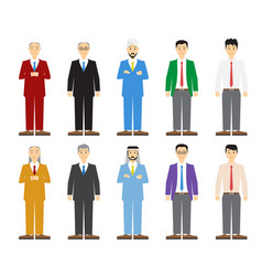 Set of old and young business man in flat style vector