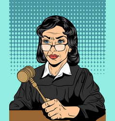 strict judge with a hammer vector image