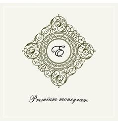 Stylish graceful monogram line art logo vector