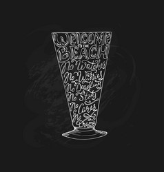 Summer calligraphic lettering cocktail glass vector