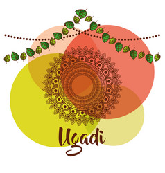 Ugadi creative decorated mandala with pennant vector