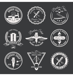 White barber emblem set vector