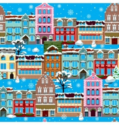 Winter houses seamless vector image vector image