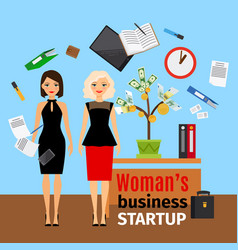 Women in office with money tree vector
