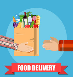 Hands hold food package vector