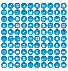 100 folder icons set blue vector