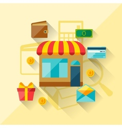 Concept of internet shopping in flat design style vector