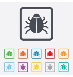 Bug sign icon virus symbol software bug error vector