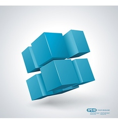 3d blue cube vector image vector image