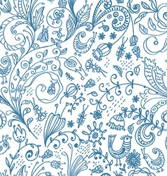 Doodle floral seamless card vector