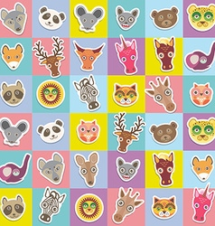 Set of funny animals muzzle seamless pattern with vector