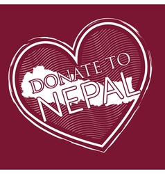 Heart shape donate to nepal banner stamp style on vector